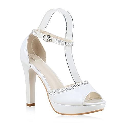 Damen Plateau Sandaletten Strass High Heels Metallic Sandalen Stiletto Abend Spitze Schuhe 130366 Weiss Lack 39 |
