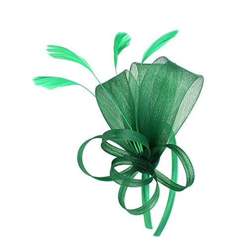 MagiDeal Dame Feder Fascinator mit Stirnband Schleifen Schleier Derby Cocktail Kostüm Kopfschmuck - Grün