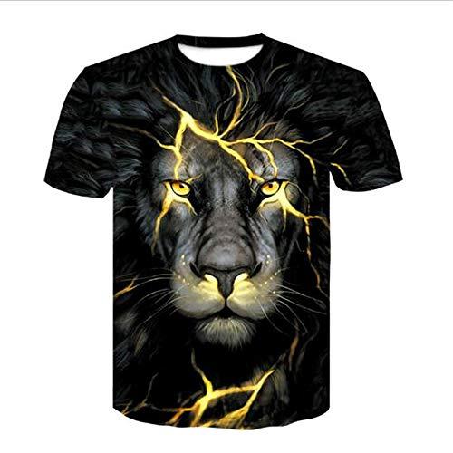 ruckt Compression Fitness T-Shirt Jogging-Bewegung Kurzarm T-Shirt Slogan,3D Gedruckter Löwe - A1 schwarz M ()