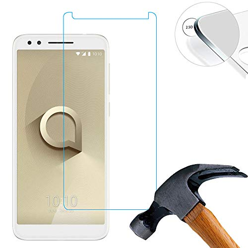 Lusee 2 X Pack Panzerglasfolie für Alcatel 3L 5034D 5.5 Zoll Tempered Glass Hartglas Schutzfolie Folie Bildschirmschutz 9H (Nur den flachen Teil abdecken)
