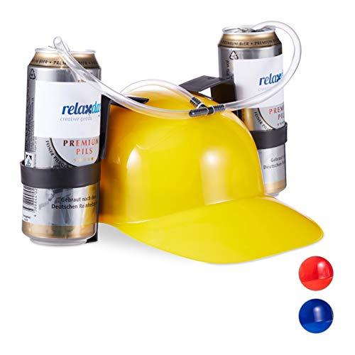 Relaxdays Party Trinkhelm, Helm mit Schlauch, für 2 Dosen Bier, Spaßartikel Fasching u. Fußball, lustiger Bierhelm, gelb