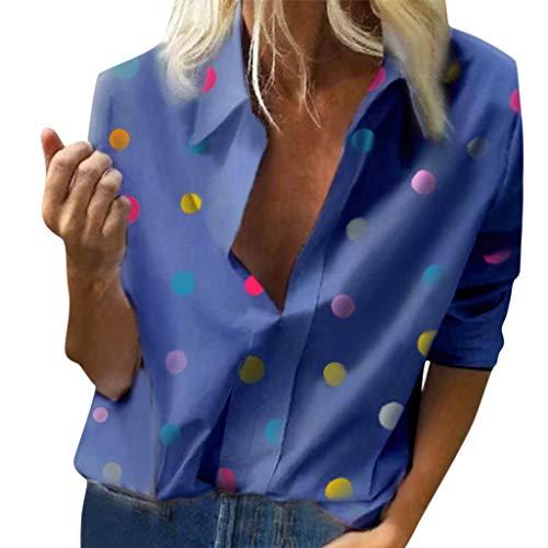Berimaterry Damen Mode Bunt Punkte Muster Langarm V Ausschnitt T Shirt Lose Umlegekragen Hemd Große Größen Bluse Leicht Oberteile Top Für Frauen -