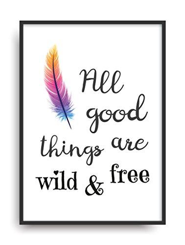 Fine Art Kunstdruck WILD & FREE Poster Print Plakat moderne Vintage Deko Bild DIN A4 Geschenk (Wilde Frauen In Der Küche)