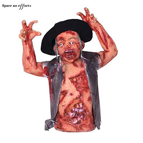 WSJDE Horrorblut Halloween Dekoration Gruseliger Zombiegeist Unheimlich Blutige Körperhälfte Ornamente Escape Haunted House Bar Dekor - Sexy Haunted Zombie Kostüm
