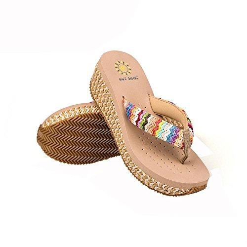 SCARPE DONNA Zeppa flip flip sandali di svago Boemia più colori tra cui scegliere 5264 beige