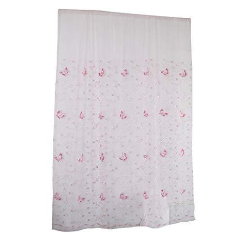 PETSOLA Gardinen Für Wohnzimmer Lange Vorhangpaneele Voile Fenstervorhang Set - Rosa 2x2.7m