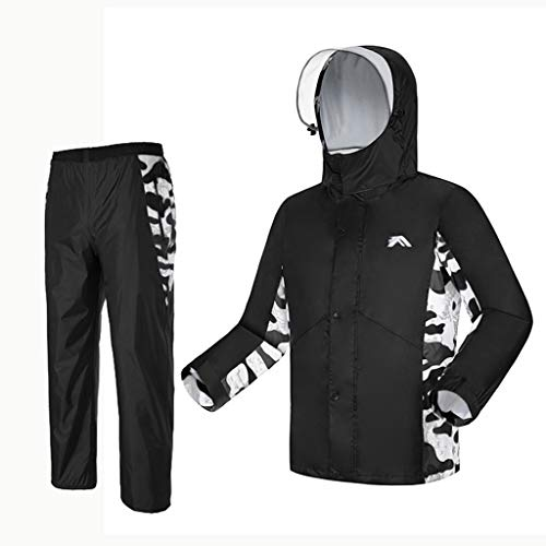 Dongyd Regenmantel Anzug wasserdichte Jacke und Hose Set mit Kapuze Regenbekleidung Regenmantel und Regen Hosenanzug für Herren Womens Outdoor Arbeit Motorrad Golf Angeln schwarz (Size : L) -