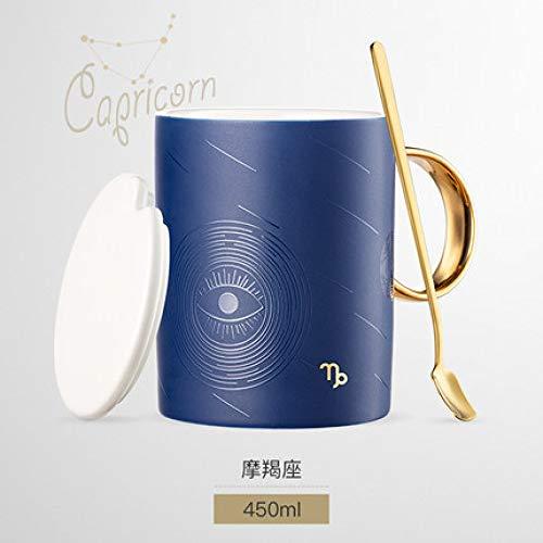 Zwölf Konstellation einfache Keramikbecher Tasse mit Deckel Löffel kreative Heimat Frühstückskaffee Trinkbecher J 450ml