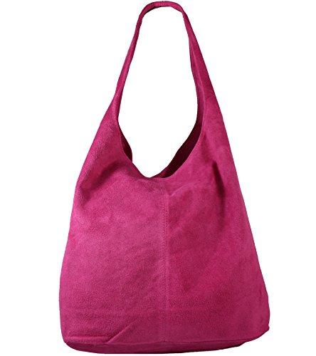 Freyday Damen Ledertasche Shopper Wildleder Handtasche Schultertasche Beuteltasche Metallic look (Pink)