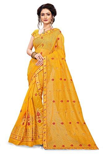 S. Kiran's Women's Supernet Yellow Chador Chanderi Mekhela - Mekhla Chadar -...