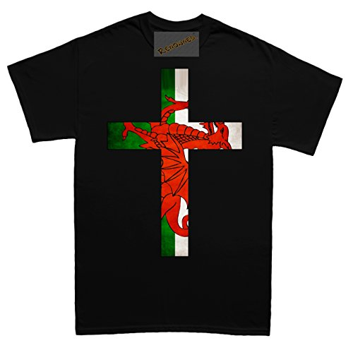Renowned Cross with Welsh Flag Inside Unisex - Kinder T Shirt Schwarz