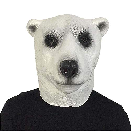 IENPAJNEPQN Latex Eisbär Tiermaske Cute Cartoon Kopfschmuck Maskerade Bar Leistungsrequisiten (Color : Polar Bear, Size : One - Lustige Eisbär Kostüm