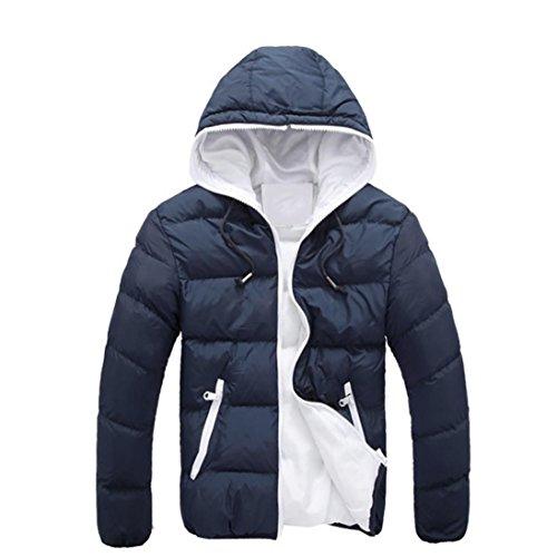 FEITONG de los hombres Delgado Calentar Chaqueta Encapuchado invierno gruesa Escudo Parka con Algodón capucha Abrigo (XXXL, Azul marino)