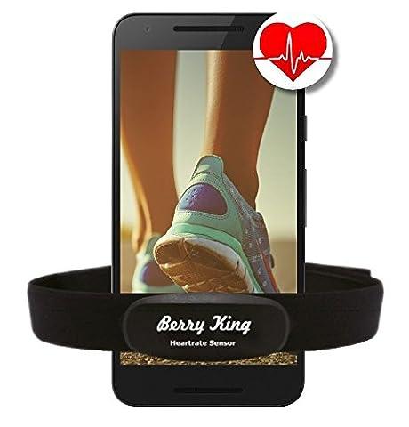 BLUETOOTH 4.0 und ANT+ BRUSTGURT für RUNTASTIC, WAHOO, STRAVA App, für iPhone 4S/5/5C/5S/6/6S/6+ Android - BerryKing Premium Herzfrequenz Messer / Sensor ANT+ & Bluetooth 4.0 für Garmin, TomTom, iPhone, Android