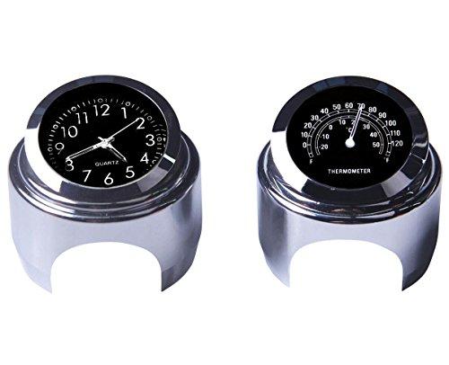 Reloj de manillar de la motocicleta y termómetro 7/8 pulgadas universal Reloj...