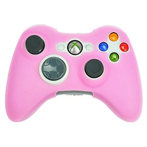 HDE Silikon-Schutzhülle für Xbox 360 Controller, gummiert, für Microsoft Xbox 360 verkabelte und kabellose Gamepads Telefon-Schutzfolie Rose (Rosa Für Xbox 360 Konsole)