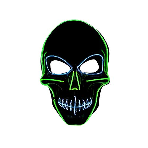 SOUTHSKY LED Mask Schädel Maske Skull Full Face Mask EL Wire Glow 2 Colors 3 Modes for Halloween Costume Cosplay Party (Grün + Weiß)