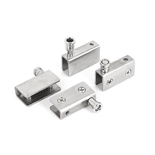 Sourcingmap–5mm-8mm grosor de cristal pivote Bisagra de acero inoxidable abrazadera de plata tono 4piezas