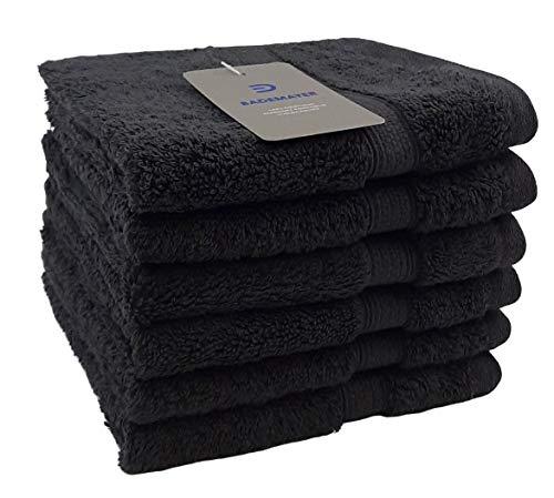 Bademayer - 6 Stück Fusselfreie Frottier Waschlappen/kleine Handtücher aus 100% Ägyptischer Gekämmter Baumwolle 30 x30 cm.Premium Qualität 600g/m² (Grafit)