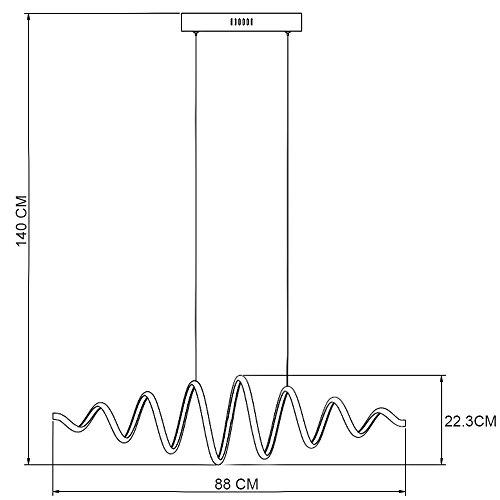 N3 Lighting Moderne Design LED Pendelleuchte, Esstischleuchte höhenverstellbar - Hängelampe Dimmbar Stufenlos - LED Pendellampe für Esszimmer-Lampe (Hängeleuchte, Esstisch, Chrome, 56 Watt, Warmweiß) - 2
