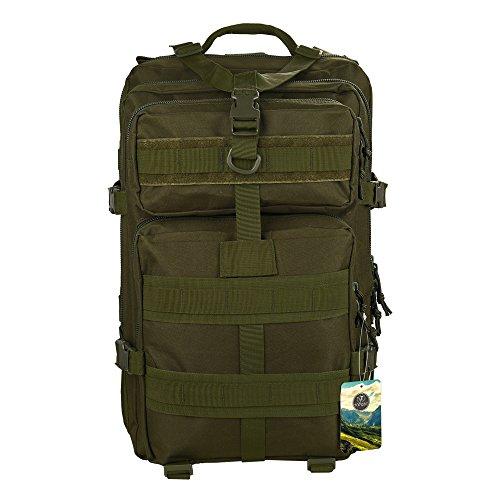 TOPQSC Zaino Tattico dello Zaino Militare 45L Esterno di Sport di alta Qualità che Cammina l'Escursione del Sacchetto di Trekking su Ordinazione (army green)