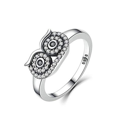 Panamami Women Jewelry Animal Owl Ring Vintage Bohemia for Women Cubic Zirconia Gray Rhinestone Silver Plated Vintage Ring Jewelry – Silver