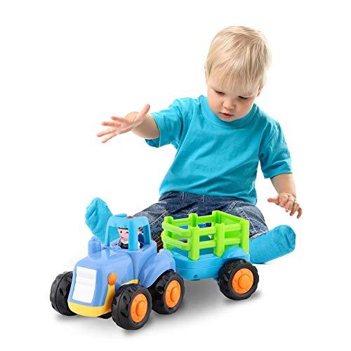 Fsskgx Spielzeugautos für Jungen, Mini Schiebetraktor Push and Go Auto Baufahrzeuge LKW Spielzeug Geschenk für Kinder 1-3 Jahre alt (Reiten-traktor Für Kinder)