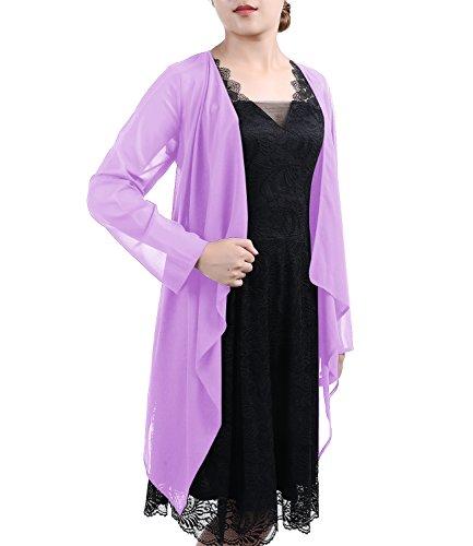 Timormode Damen Elegant Bolero Schlicht Chiffon Jacke Cape Sommer Strand Jacke 10381 M Lavender