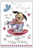 (JJ6516 Carte de v?ux-To a Special Friend Motif chien mignon dans tasse de thé