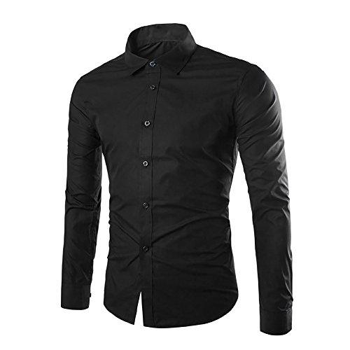 Cloud style Chemise habillee Chemise manches longues unie Coupe slim fit Business-Hommes Noir