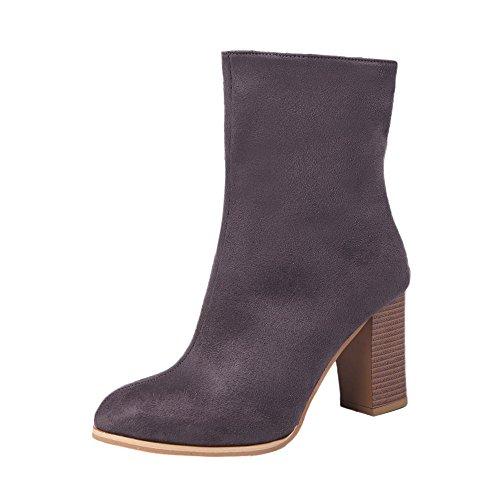 OYSOHE Frauen Schuhe Spitz Schnalle Plus Samt Faux Warme Stiefeletten High Heels Martin...