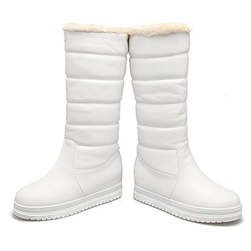 RAZAMAZA Femmes Chaudes Plateforme Bottes De Neige a Enfiler White-1