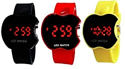 Aaradhya Fashion Red & Black & Yellow LED Digital Dial Apple Shape Kids Watch Combo