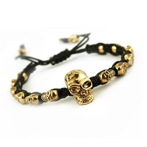 Handmade Gold Skull Charm Friendship Bracelets, br-1385