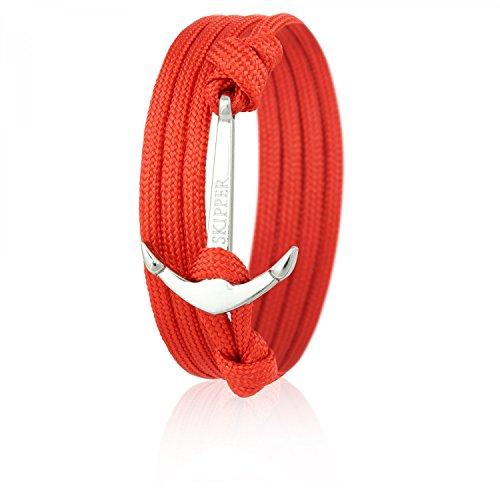 Skipper Anker-Armband mit Silbernem Edelstahl Anker für Damen und Herren - Rot 6629