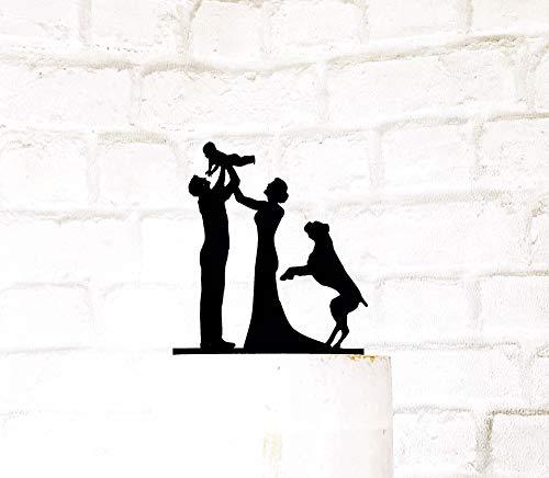 Ethelt5IV Braut-Bräutigam-Baby-und Boxer-Hundefamilien-Schattenbild-Hochzeits-Kuchen-Deckel -
