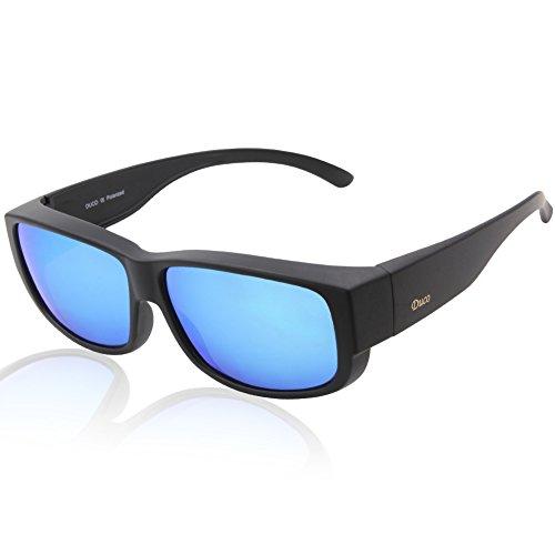 DUCO Unisex polarisierte Sonnenbrillen Überziehbrille Fit-Over Brille Korrekturbrille RX Brille 8956 (Schwarzer Rahmen Revo Blau Linsen)