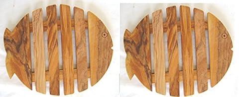 Ensemble de 2 coasters, conception de poissons, bois d