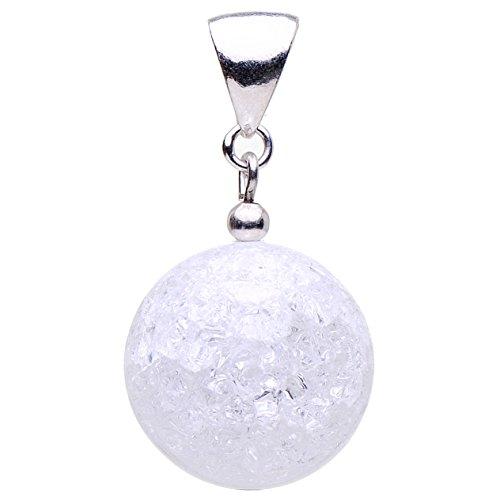 Anhänger aus echtem Bergkristall Kugel & 925 Silber weiß Crack-Struktur Damen
