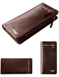a528096fda81 Portefeuilles pour Hommes Longue Poche en Cuir à la Mode Coin Portefeuille  Simplement Style Porte-Cartes Business Homme Cuir…