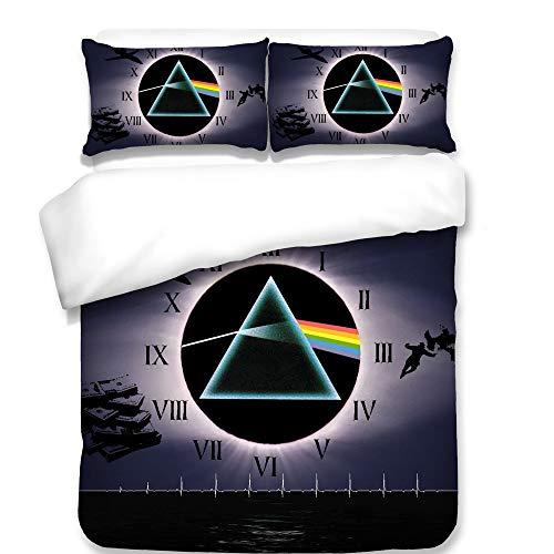 CXDM 3 Stück Bettwäsche-Set, 3D Bettwäscheset Pink Floyd Muster Gedruckt Atmungsaktive Baumwolle Voll Queen-Bett-Set,AUQueen (Queen Bett Set-muster)