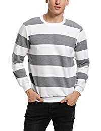 2ea646a82b6d Abollria Pull Homme Sweat a Capuche Hiver Tricot Rayé Pull Stripes Homme  Pull tricoté Marin Homme