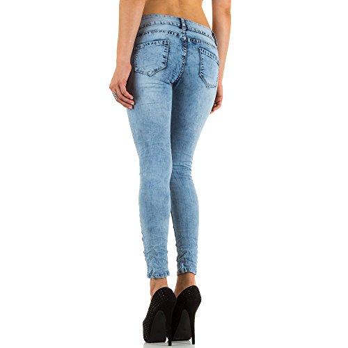 Damen Jeans, DESTROYED HÜFT SKINNY JEANS, KL-J-X1231 Blau