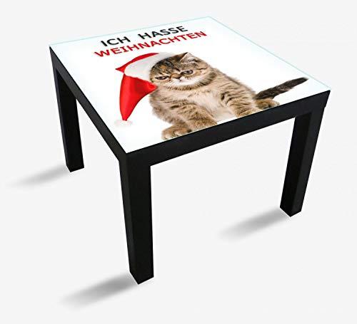 Wallario Möbeldesign - Glasplatte, Schutzplatte mit Motiv - geeignet für IKEA Lack Tisch, Größe: 55 x 55 cm, Motiv: Ich Hasse Weihnachten - Spruch mit mürrischer Katze