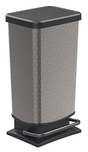 Rotho Paso Mülleimer 40 l mit Deckel, Kunststoff(PP), silber mit Motiv Hexagon, 40 Liter (35,3 x 29,5 x 67,6 cm)