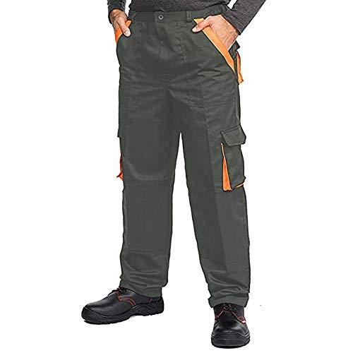 Pantaloni da Lavoro Uomo Multitasche, Taglie Grandi S-3XL, Salopette da Lavoro, Tuta da Lavoro Uomo, Blu, Nero (S, Grigio)