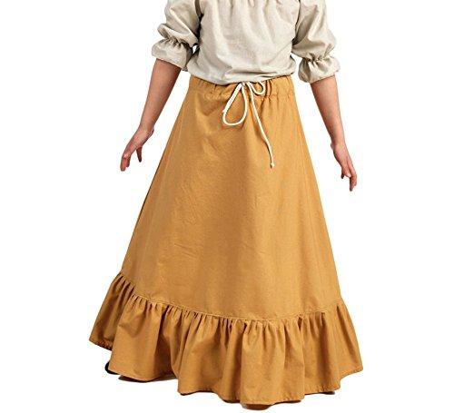 Mittelalterrock mit Rüschen für Kinder Gewandung bodenlang LARP Kostüm sand - 9/11 Jahre (Rock Of Ages Kostüm Mädchen)