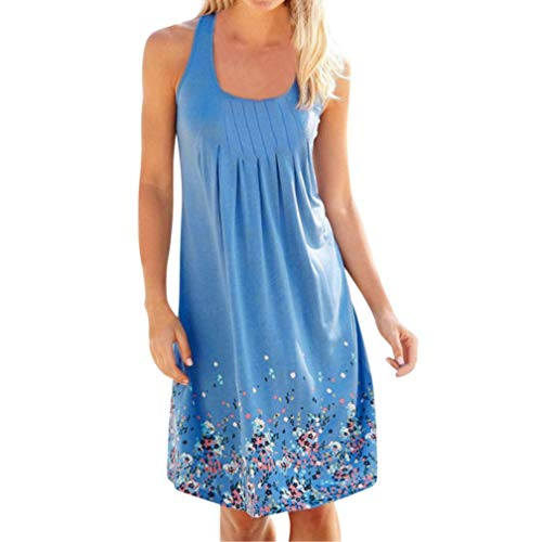 MRULIC Damen Abendkleid Knielang A-Linie Kleid Partykleid mit Dot-Printing (EU-42/CN-XL, X-Blau)