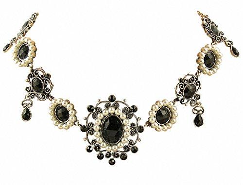 Trachtenschmuck Renaissance Tudor Dirndl Collier - für Dirndl, Gothic, Larp - schwarz