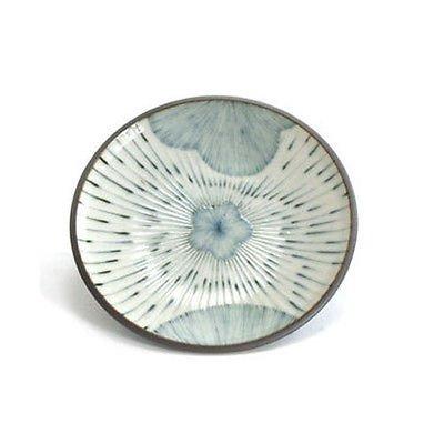 4 Stück. Untersetzer mit japanischem Sojasaucen, 12 cm Durchmesser, rund, mit blauem Blumendesign, hergestellt in Japan
